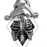 woman skeleton ribs tattoo idea
