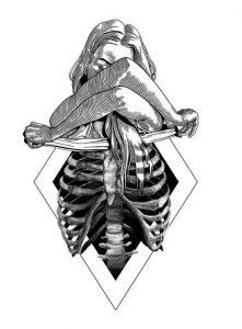 woman skeleton ribs tattoo idea