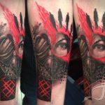 trash polka gas mask tattoo in london