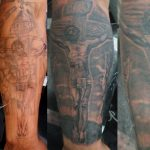 Jesus cover up tattoo on arm