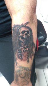 Bob Marley skeleton tattoo