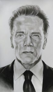 portrait pencil Arnold Schwarzenegger for tattoo Wandsworth